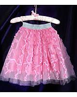 Юбка сетка в розочках, цвет розовый