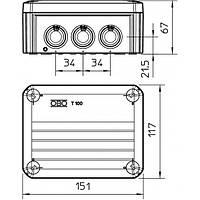 Распределительная наружная коробка Т100 151x117x67 IP66 OBO Bettermann