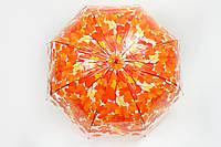 Зонт прозрачный листья оранжевый
