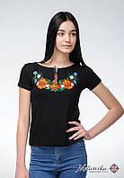 Вишита жіноча футболка на короткий рукав у чорному кольорі із квітами «Польова краса», фото 1
