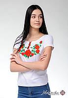Жіноча вишита футболка в українському стилі «Троянди на білому», фото 1