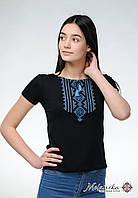 Молодіжна вишиванка у чорному кольорі для жінки «Гуцулка (синя вишивка)», фото 1