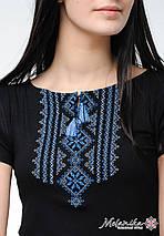 Молодежная вышиванка в черном цвете для женщины «Гуцулка (синяя вышивка)», фото 3