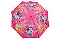 Зонт детский белоснежка малиновая ручка 012