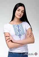 Вишита футболка для дівчини у білому кольорі із геометричним орнаментом  «Гуцулка (блактина вишивка)», фото 1