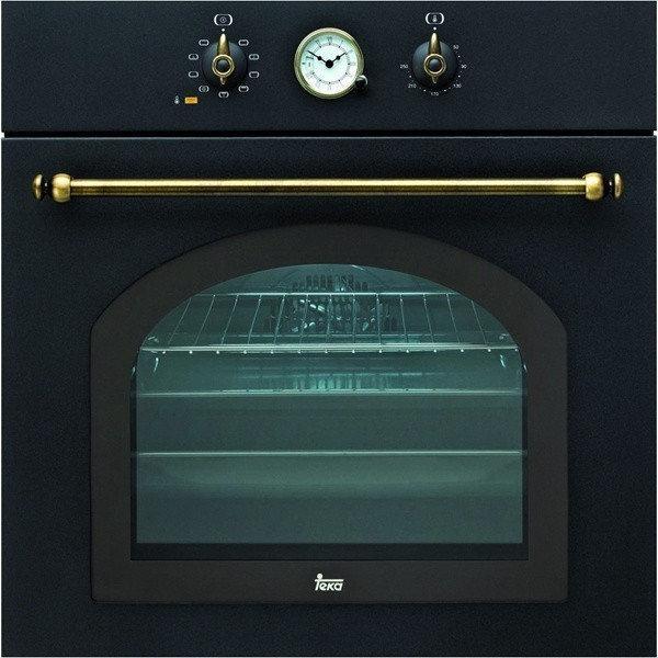"""Духовой шкаф TEKA  HR 750 (Rustica), черный, ручки """"латунь"""""""