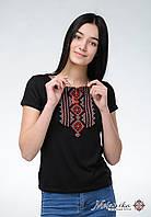 Жіноча вишита футболка із класичним орнаментом «Гуцулка (червона вишивка)», фото 1