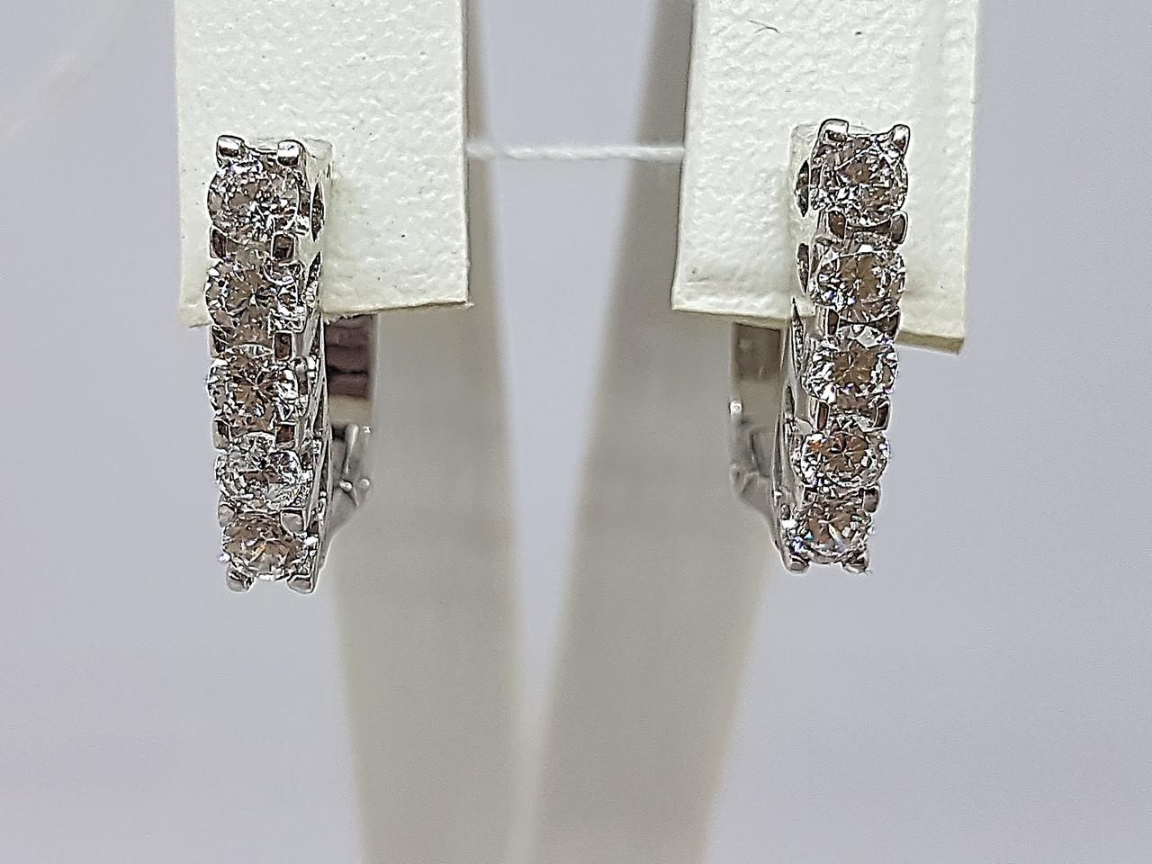 Серебряные серьги с фианитами. Артикул 309400
