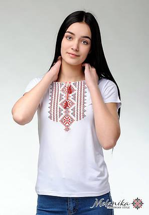 Женская футболка с вышивкой на короткий рукав в белом цвете «Гуцулка (красная вышивка)», фото 2