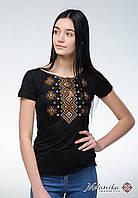 Жіноча чорна вишиванка на корткий рукав із бавовни «Карпатський орнамент (коричнева вишивка)», фото 1
