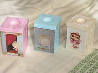 Оригинальные подарки. Деревянный короб, шкатулка, подсвечник в технике декупаж