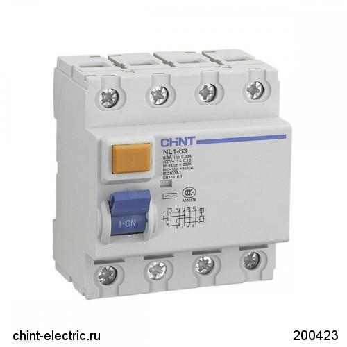 УЗО NL1-100 S 4Р 63А 300мА 10кА тип АС (CHINT)