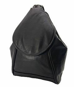 Сумка-рюкзак с клапаном женская Dizar S-928 33*27*9см лайка, черная