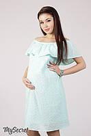 Летнее хлопковое платье для беременных и кормящих Elezevin DR-28.041, мята