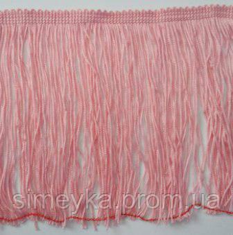 Бахрома танцювальна світло-рожева (лапша, локшина) для одягу 15 см, тасьма 1 см, довжина ниток 14 см