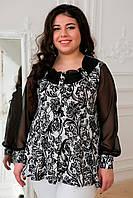 Блуза с рукавом из шифона Габби принт цветы 52, 54