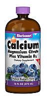 Жидкий Кальций Цитрат Магния + Витамин D3, Вкус Черники, Bluebonnet Nutrition, 16 ж. унций (472 мл)