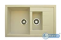 Двойная гранитная кухонная мойка с сушкой Granitika Double Mini DM775020 крем Гранитика, фото 1