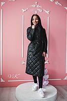 Плащевое женское стеганное пальто на весну-осень 600280
