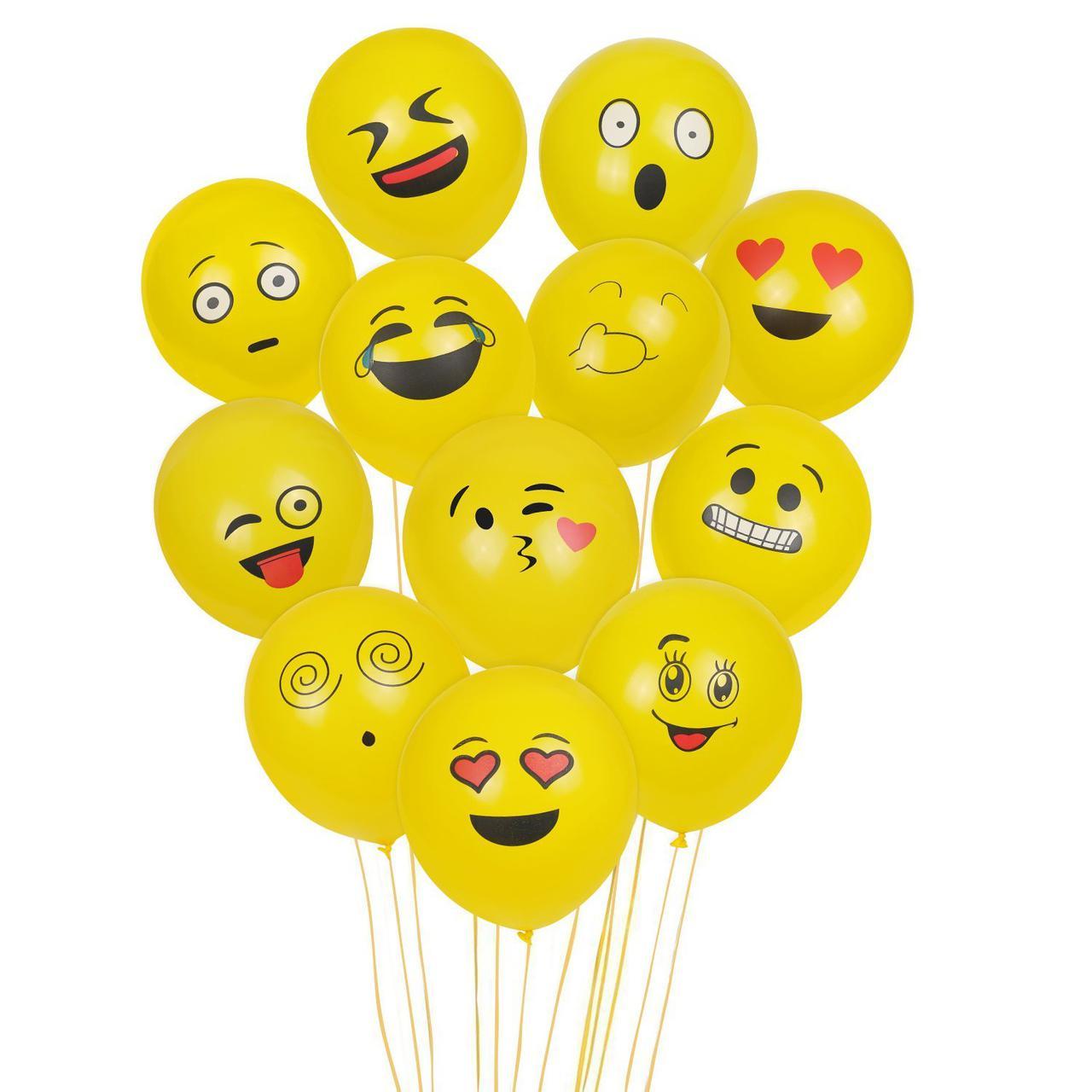 Набор 100 надувных шаров Эмодзи - Cookey Emoji Luftballon