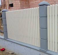 Комплект бетонного наборного столба (25х25х37) с крышкой и основанием.