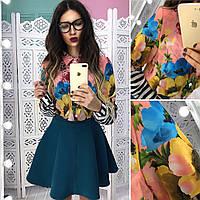 Женский юбочный костюм с рубашкой и юбкой солнце 6610412