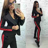 Женский брючный костюм с пиджаком и с ломпасами 5810418