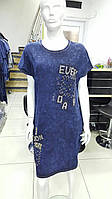 Трикотажное турецкое платье под джинс полубатал