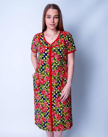 Летний халат женский увеличенного размера Цветы + горошекWild Love