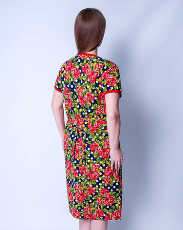 Летний халат женский увеличенного размера Цветы + горошекWild Love, фото 2