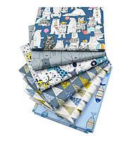 Набор тканей (Ткань) Серо-голубые Животный мир и природа оттенки для Пэчворка 40x50 см 6 шт, фото 1