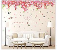 Наклейка на стену в интерьере Романтические цветы