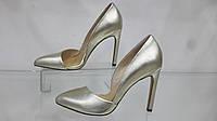 Туфли женские, кожаные на высоком каблуке,цвет шампань, золото,36,37