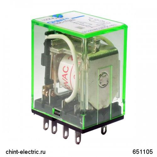 Промежуточное реле с кнопкой тестирования NJDC-17(D)/4ZS 4 конт. с инд. LED 3А AC24В (CHINT)