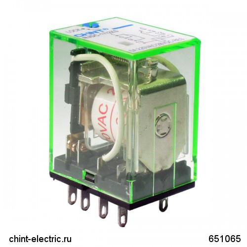 Промежуточное реле с кнопкой тестирования NJDC-17(D)/2ZS 2 конт. с инд. LED 5А AC220В (CHINT)