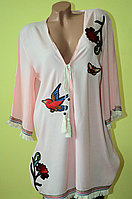 Стильная пляжная женская туника-платье с принтом колибри