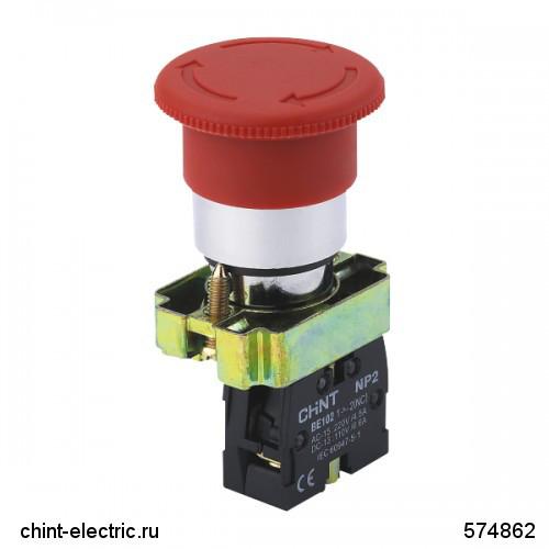 Кнопка управления Грибок, 40мм с фиксацией NP2-BS542 без подсветки красная 1НЗ IP40 (CHINT)