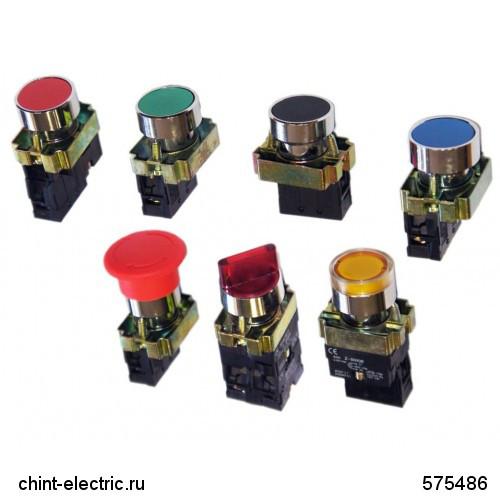 Кнопка управления NP2-BL65 без подсветки, синяя, 1НО +1НЗ IP40 (CHINT)