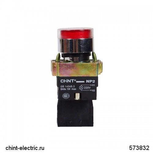 Кнопка управління NP2-BW3461 1НЗ червона AC/DC230В(LED) IP40 (CHINT)