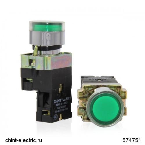 Кнопка управления NP2-BW3665 1НО+1НЗ , синяя, AC/DC230В(LED) IP40 (CHINT)