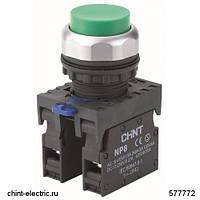 Кнопка выступающая NP8-11GN/3 без подсветки, зелёная 1НО+1НЗ IP65 (CHINT)