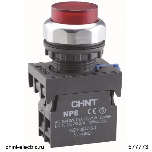 Кнопка выступающая NP8-11GN/4 без подсветки, красная 1НО+1НЗ IP65 (CHINT)