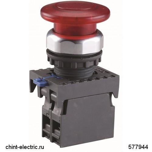 Кнопка управління Грибок, 40мм з самоповерненням NP8-01MD/1 1НЗ червона АС110В-220В(LED) IP65 (CHINT)