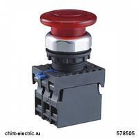 Кнопка управления Грибок, 40мм с самовозвратом NP8-10M/12 без подсветки черная 1НО IP65 (CHINT)