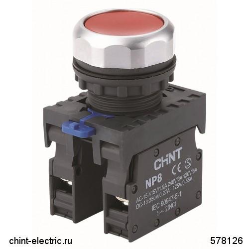 Кнопка управления NP8-10BND/1 1НО белая AC110В-220В(LED) IP65 (CHINT)