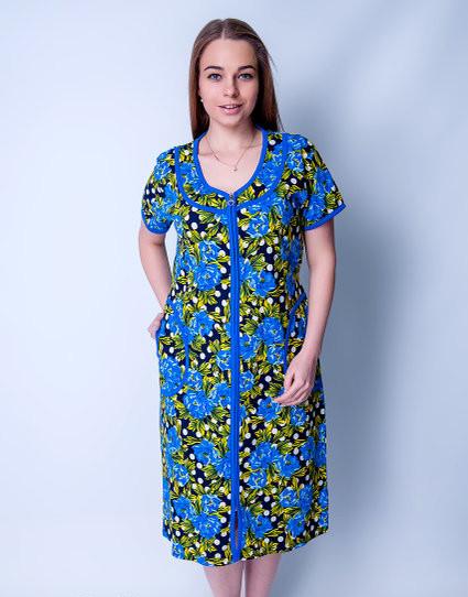 Летний халат женский увеличенного размера Синие цветыSen Sen