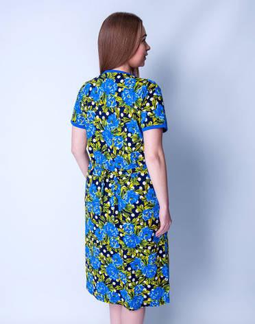 Летний халат женский увеличенного размера Синие цветыSen Sen, фото 2