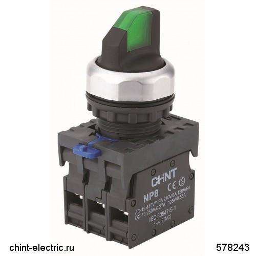 Переключатель с подсветкой NP8-11XD/223, 2 положения с самовозвратом, 1НО+1НЗ зелёная AC110В-230В(LED) IP65 (CHINT)
