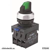 Переключатель с подсветкой NP8-11XD/333, 3 положения с самовозвратом, 1НО+1НЗ зелёная AC110В-230В(LED) IP65 (CHINT)