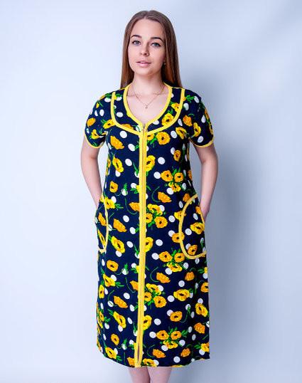 Летний халат женский увеличенного размера Желтые цветочкиSen Sen